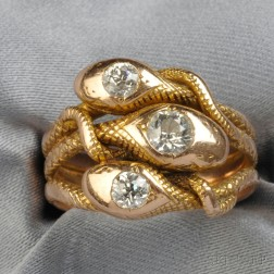 Antique 14kt Rose Gold and Diamond Ring