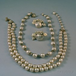 Three Pieces of Vintage Miriam Haskell and Judith McCann Faux Pearl Costume Jewelry