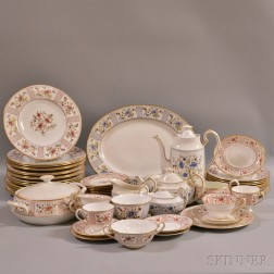 "Group of Royal Crown Derby ""Lucienne"" Porcelain Dinnerware.     Estimate $400-600"