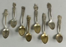 Group of Thirty-one Sterling Souvenir Spoons of Various States