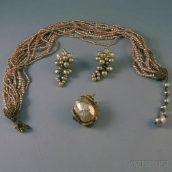 Small Group of Miriam Haskell and Judith McCann Faux Pearl Costume Jewelry