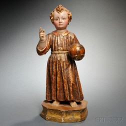 Spanish Colonial Carved, Painted, and Gilded Wood Figure of the Infant of Prague