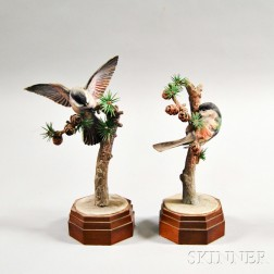 Pair of Dorothy Doughty Royal Worcester Porcelain Chickadees