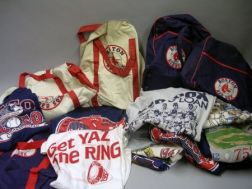 Group of Vintage Boston Red Sox and Baseball Related T-Shirts and Six Souvenir Bags