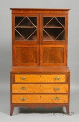 Federal Mahogany and Birch Veneer Glazed Desk Bookcase