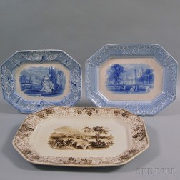 Three Transferware Platters