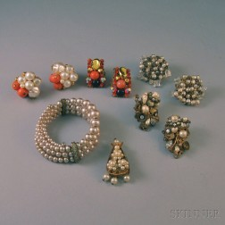 Small Group of Vintage Miriam Haskell-type Costume Jewelry
