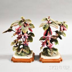 Pair of Dorothy Doughty Royal Worcester Porcelain Ruby-throated Hummingbirds