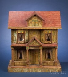 Bliss Two-Storey Lithographed Paper-on-Wood Dollhouse