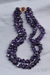 Double-strand Amethyst Bead Necklace, Gump's