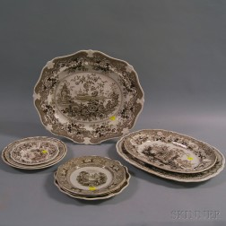 Nine Pieces of Brown and White Staffordshire