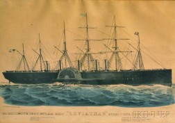 """Currier & Ives, publishers (American, 1857-1907)      THE MAMMOTH IRON STEAM-SHIP """"LEVIATHAN."""""""