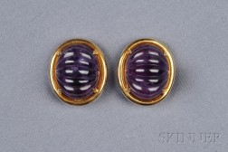18kt Gold and Amethyst Earclips, Gump's
