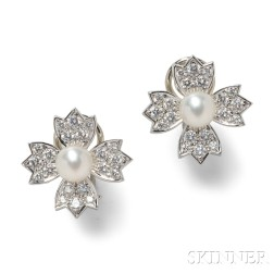 Platinum, Cultured Pearl, and Diamond Flower Earclips, Tiffany & Co.
