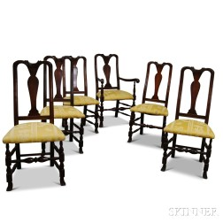 Set of Six Queen Anne-style Mahogany Chairs