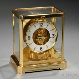 Atmos Brass and Glass Clock by Le Coultre