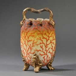 Coralene and Satin Glass Handled Vessel