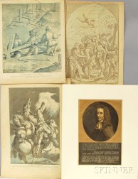 Four Old Master Woodcuts:      Nicolas Le Sueur (French, 1691-1764), L'Invention de la Croix