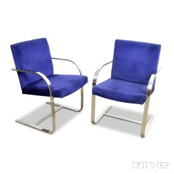 Pair of St. Timothy BRNO-style Chromed Steel Armchairs