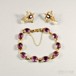 14kt Gold and Amethyst Bracelet and Earpendants