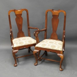 Pair of Queen Anne-style Boston-type Walnut Armchairs
