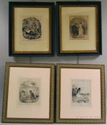 Four Framed Lithographs After Honore Daumier (French, 1808-1879)