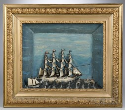 Large Paint-decorated Shadowbox Diorama of a Four-masted Sailing Vessel