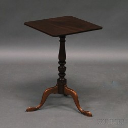 Queen Anne-style Mahogany Square-top Candlestand