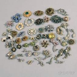 Small Group of Assorted Paste and Rhinestone Costume Jewelry