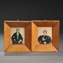 English School, c. 1836-37       Two Miniature Portraits of a Man and Woman.