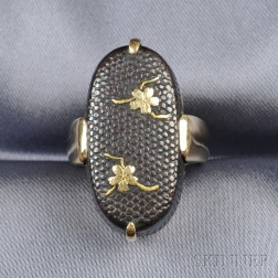18kt Gold and Shakudo Ring, Gump's
