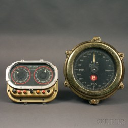 Two Gauge Indicators and Five Brass-cased English Gauges