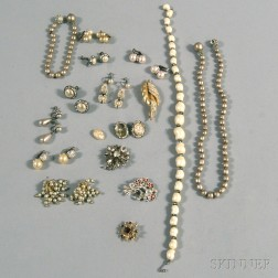 Small Group of Faux Pearl and Rhinestone Costume Jewelry