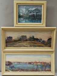 Three Oil Paintings:      Lucian Arthur Geraci (American, 1923-2005), Harbor View