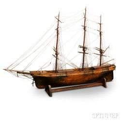 Carved and Painted Clipper Ship Model