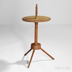 Shaker Red-painted Maple and Ash Adjustable Candlestand