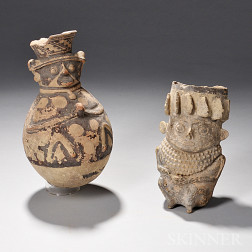 Two Chancay Anthropomorphic Pottery Vessels