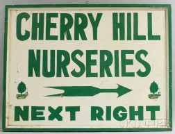 Green- and White-painted Cherry Hill Nurseries Sign