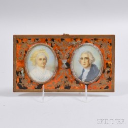Framed George and Martha Washington Portrait Miniatures