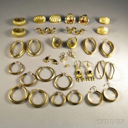 Group of Mostly 14kt Gold Earrings