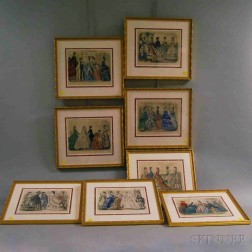 Seven Hand-colored Framed Godey Fashion Prints