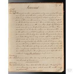 Manuscript Account of a Sea Journey Coinciding with the War of 1812.