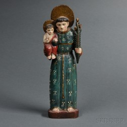 Spanish Colonial Carved, Painted, and Gilded Wood Figure of Saint Christopher
