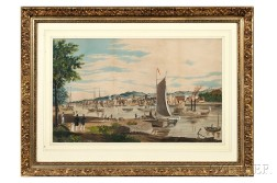 American School, Late 19th Century      View of a Bustling Harbor.