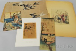 Four Woodblock Prints and an Ink Drawing