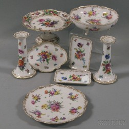 Eight Pieces of Dresden Hand-painted Porcelain