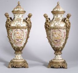 Pair of Ormolu Mounted Royal Sydney Ware Covered Urns