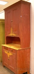 Red-painted Two-part Step-back Cupboard