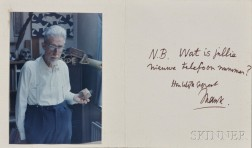 Escher, Maurits Cornelis (1898-1972) Signed Card with Photo, 1971.