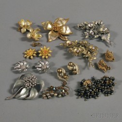 Small Group of Coro Signed Costume Jewelry